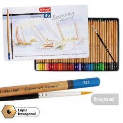Lápices Acuarelables 36 Colores + Pincel Caja Metálica