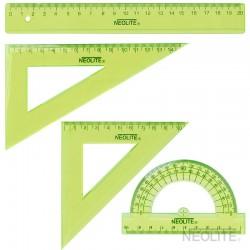 Set Geometría GREEN 20 cm 4pc - 2 escuadra, 1 transportador y 1 regla