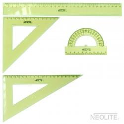 Set Geometría GREEN 30 cm 4pc - 2 escuadra, 1 transportador y 1 regla