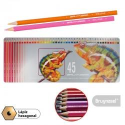 Lápices Hexagonales 45 Colores en Caja Metálica
