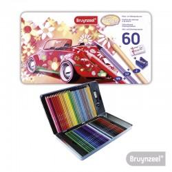 Lápices Hexagonales 58 Colores + Sacapuntas + Goma de borrar