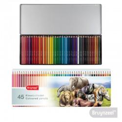 Lápices Hexagonales 45 Colores en Caja Metálica Animales