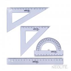 Set Geometría SKY 20 cm 4pc - 2 escuadra, 1 transportador y 1 regla