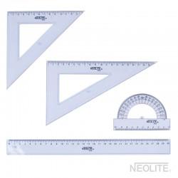 Set Geometría SKY 30 cm 4pc - 2 escuadra, 1 transportador y 1 regla