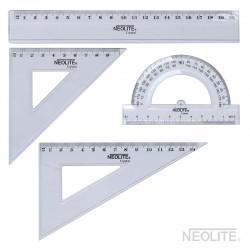 Set Geometría Transparente 20 cm. 4 Piezas