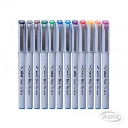 Set de Brush Pen Punta Fina 12 Colores ADIX