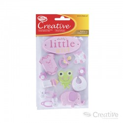 Sticker Goma Eva Baby Shower Rosado