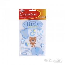 Sticker Goma Eva Baby Shower Azul