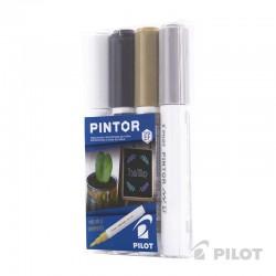 Set Pintor Extra Fino de 4 unidades Blanco, Negro, Dorado, Plateado
