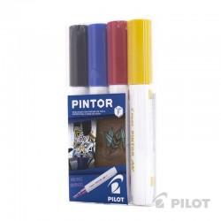 Set Pintor Fino de 4 unidades Negro, Rojo, Azul, Amarillo