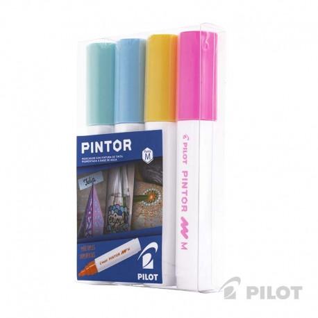 Set Pintor Medio 4 Amarillo, Verde Pastel, Azul Pastel, Rosado