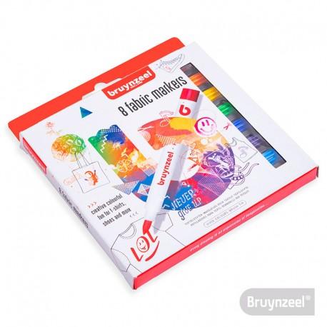 Marcadores de Ropa 8 Colores BRUYNZEEL
