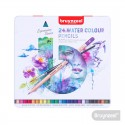 Lápices Acuarelables 24 Colores + Pincel Caja Metálica