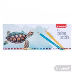 Lápices Hexagonales 45 Colores en Caja Metálica Tortuga