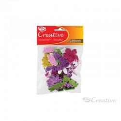 Flores de Goma Eva con Glitter Autoadhesiva